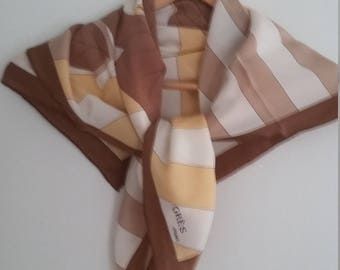 GRES Paris 80s Vintage Couture Large Square Silk White, Brown, Tan, Gold Floral Print Scarf,  Silk Scarf