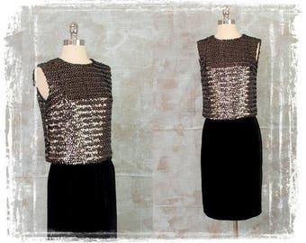 Vintage 1950s Evening Dress, Black Dress, Sequin Top, Velvet Pencil Skirt, Two Piece Dress Set, 1950s Cocktail Dress, Silver, Small