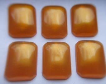 Vintage Large Butterscotch Rectangular Cabochons x 6   # B 1-2