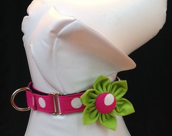 "Martingale Dog Collar Flower Set 1"" and1.5""  -  Pink & White Large Polka Dots - Size S, M, L, XL"