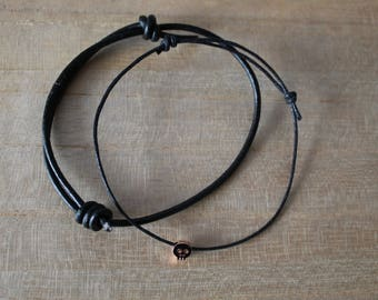 NEW Rose gold skull bracelet layering set of 2 - layering, minimalist, modern, jewellery, thick black leather cord, think black wax cord