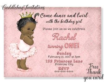 African American Girl Birthday Invitation | Pink Ballerina Birthday | Pink Ballet Birthday Girl Invite | Girl Birthday Invitation Printable