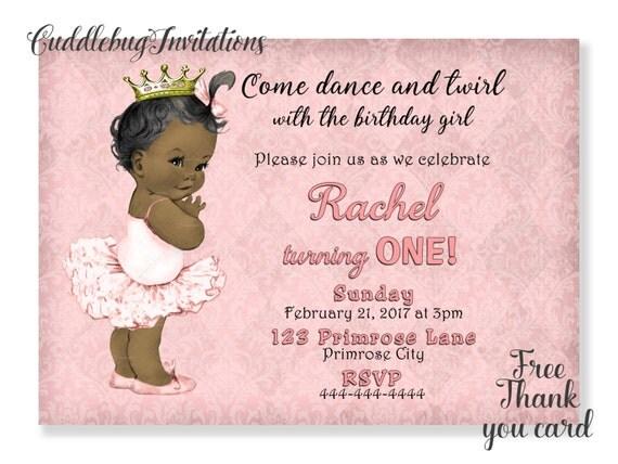 African American Girl Birthday Invitation Pink Ballerina