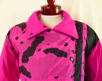 new wave 80's Tyrolia by Head color block hot pink fuchsia white black avant garde dot pattern ski jacket puffy insulated shoulder pad large