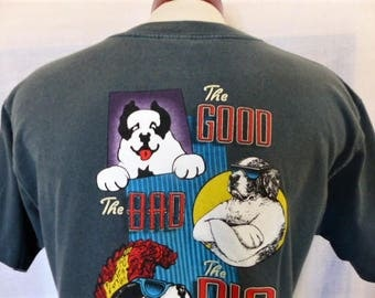 vintage 90's Big Dogs The Good the Bad and the Big dark blue green back front print graphic t-shirt back front chest logo print crew neck XL