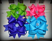 Shimmer & Shine Solid Glitter Boutique Style Bow - Turqoise Bow - Hairbow - Hair Bow - Pink Bow - Apple Green Bow - Purple Bow