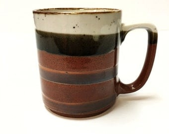 Brown white and black striped vintage coffee mug - coffee cup - vintage stoneware - vintage mug - 1960s - 1970s brown mug vintage pottery