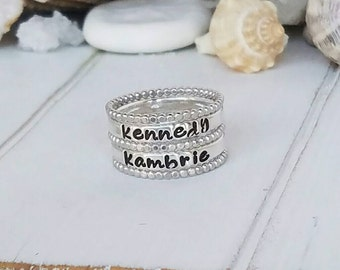 Sterling Silver Stacking Rings, Set of 5, Personalized Name ring , Hand Stamped rings, Stackable Name Rings, Mother ring, Sterling Name Ring