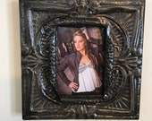 5 x 7 distressed dark gray, black, and metal colored antique tin ceiling tile picture frame