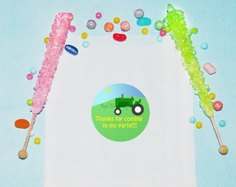 Tractor Birthday Favor Bags, Personalized Treat Bags, Snack Birthday Party Favors, Candy Tractor Farm Party Bags, Treat Favor Bags