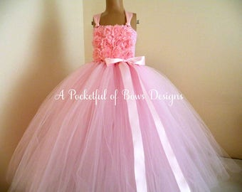 Ivory Pink Flower Girls Dress, Pink Tulle Tutu Dress with Shabby Flowers, Rustic Boho Weddings