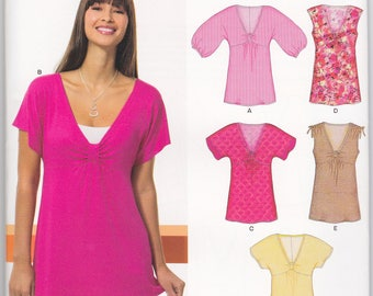 Sewing Pattern, New Look 6810, Deep V-Neck Tunic Tops with Sleeve Variations, Sizes Misses 10-22