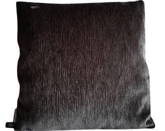 Mid Century Villa Nova Jet Gray Velvet Pillow Cover (B3)