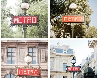 Paris metro photos paris photo set of 4 prints 8x8 square prints paris travel photo Paris red metro sign photos gift under 100 gift for her