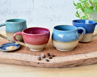 Assorted four Ceramic mugs set, pottery mugs, ceramic coffee mugs, pottery set of four cups, Coffee lovers gift idea, Easter gift