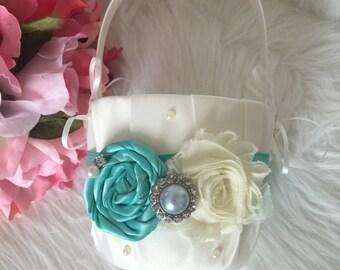 Beautiful IVORY/AQUA Flower Girl Basket - Ivory Rhinestone Flower Girl Basket