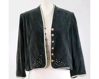 1970s Velvet embellished grey Jacket small / Vintage 1970s rhinestones velvet jacket