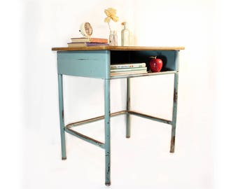 Vintage School Desk - Metal Desk - Repurposed Furniture - Industrial Furniture - Bedside Table - End Table - Teal - Homeschool