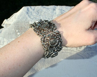 1960s/70s Large Brutalist Design Bracelet Chunky and Heavy White Metal