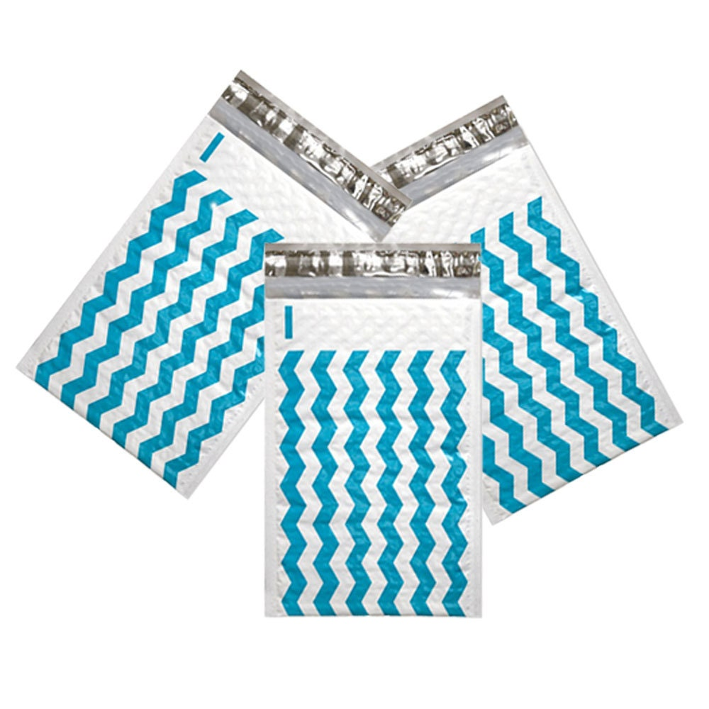 100 Pack 4x8 Quot Teal Chevron Wholesale Pack Bubble Mailers Designer Colored Padded Shipping