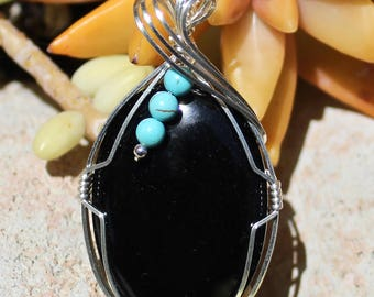 Black Onyx Stone Pendant with Turquoise Beads, Argentium Sterling Silver, Wire Wrapped, Black Onyx Stone, Handmade Stone Jewelry Necklace