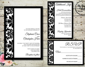 MODERN DAMASK Wedding Invitation - Digital