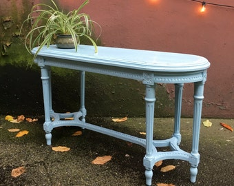 vintage sky blue oblong accent table. retro furniture.