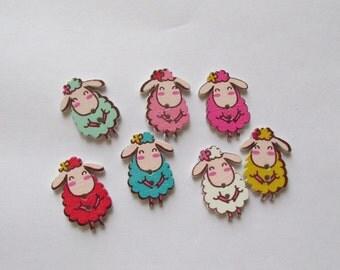 Sheep wooden button - set of Seven