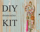 White Dreamcatcher, Diy Craft, Diy Project, Diy Room Decor, Nursery Decor, Sewing Kit, Make Your Own Dream Catcher, Fabric Ornament, Diy kit