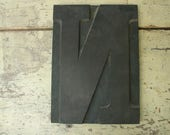 "antique HUGE letter ""N"" wood carved letterpress printing block for posters 12.5"" tall"