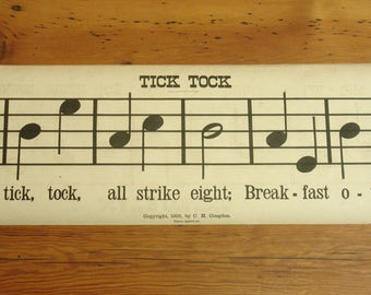 "antique 1905 music score poster ""tick tock"" ""may's coming"", 90"" long, school classroom, congdon music rolls"