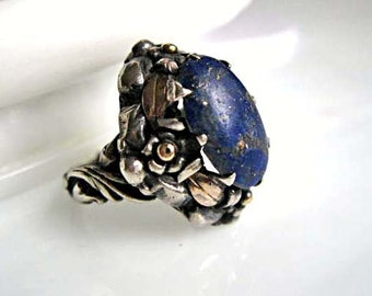 Lapis Lazuli Sterling Artisan Ring Handcrafted, Flower and Leaves Art Nouveau Design, Rosy Gold Overlay, 7 Grams, Size 6