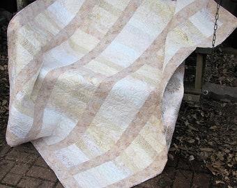 Quilt - Lap Quilt, Sofa Quilt, Quilted Throw - Serenity Batik Lap Quilt