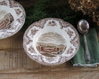 Johnson Brothers Britains Castles Dessert Bowls Set of 3 Brown Multicolor English China, Bowls for Weddings, Romantic Farmhouse