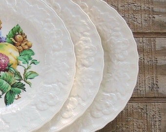 """Vintage Alfred Meakins Fruit Design Dinner Plates Set of 3 Lunch Plates Pear, Apple, Strawberries, 9"""" Cabinet Plate Wall Decor"""