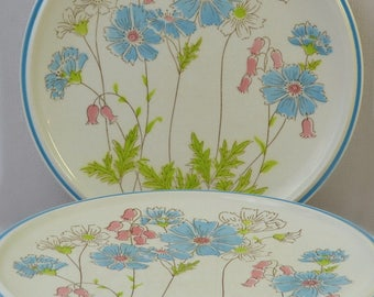 Colorama Dinner Plates - Country Air Set 4 Plates in Bright Blue & Green Boho Floral Pattern by Premiere Colorama