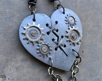 Ex Marks The Heart, Laser Cut, Statement Necklace, Mended Heart, Mechanical Heart, SteamPunk Heart, Gears, Heart Necklace