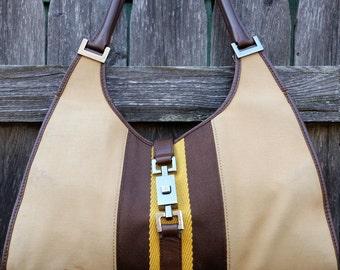 "Sale Vintage GUCCI ""Jackie O' Shoulder Handbag// Gucci Khaki Canvas & Brown Leather Handbag/ RARE Authentic Gucci Bag"
