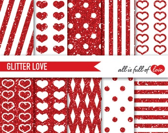 Red Glitter DIGITAL PAPER Glitter Graphics Polka Dots Red Sparkle Paper Heart pattern Valentines Day Glitter Texture Digital Background