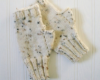 Fingerless texting gloves/mitts.  Acrylic.  Ladies and teens size.  Aran tweed. Christmas gift.