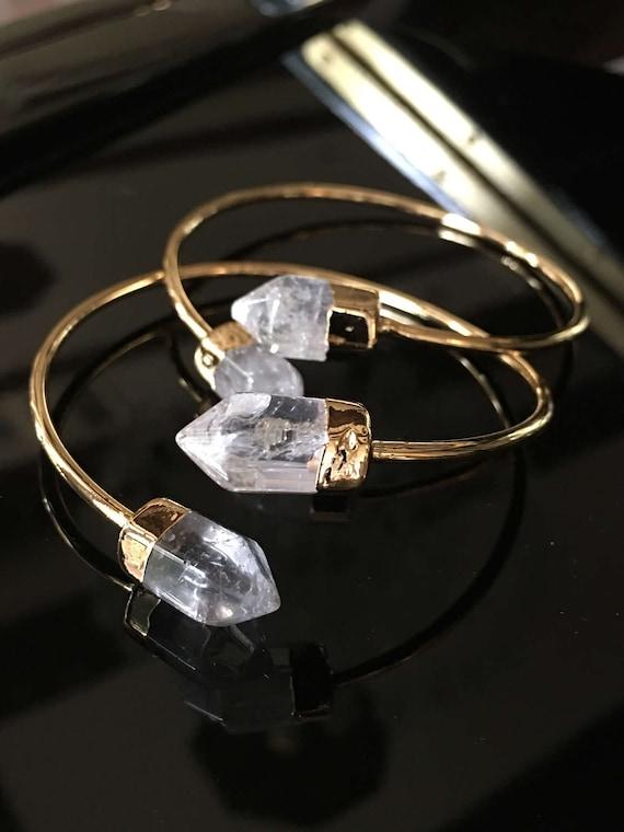 Crystal Quartz Cuff Bracelets