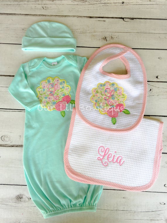 New Baby Gift Set - Personalized Gown, Hat and Burp Cloth, Newborn ...