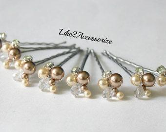 Pink Hair Pin Bridal Hair Pin Wedding Hair Accessories Swarovski Pearl Bridesmaid Hair Clip Floral Vine Hair Pin Ivory Champagne Pearl Clip