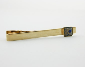 Blue and Gold Tie Clip - TT177 - Vintage Tie Clip - Vintage Tie Clip