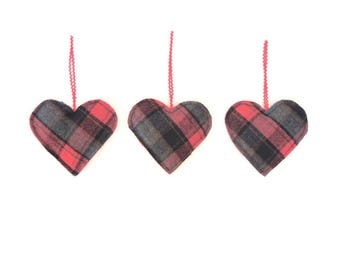 Lumberjack Sachet Ornament Balsam Fir Sachet Father's Day Men's Gift Party Favor Plaid Red & Black Upcycled Wool Heart Eco Friendly