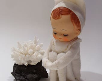 Large Pixie Elf Dressed in White With Gold Glitter Closed Sleeping Eyes Japan