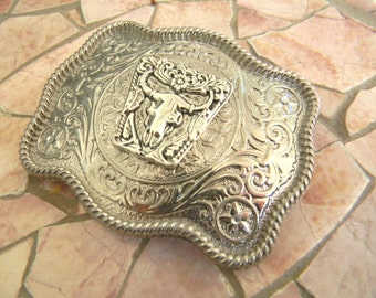 Silver Animal Skull Belt Buckle, Womens Western Custom Gift, American Cowgirl, Cow, Faux Taxidermy Bull, Bison , Country Festival Clothing