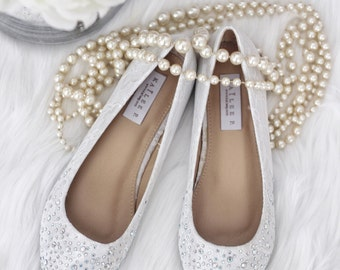 WOMEN WEDDING SHOES - White Lace Pointy toe flats with rhinestones dazzled at toe - for brides, bridesmaid and wedding party