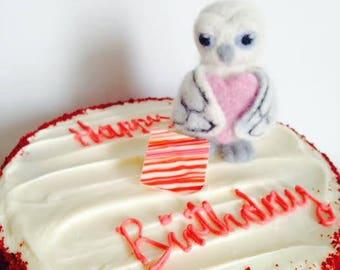 Birthday Cake Topper/ White Snow Owl, Felt Bird/ Handmade/Felted Ready to Ship