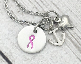 Awareness Ribbon Necklace - Breast Cancer Survivor Necklace - Cancer Awareness Necklace - Cancer Fighter Necklace